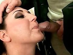 Boy fucking and pissing on busty chubby girl