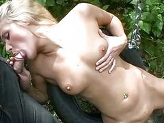 Hot Blonde Babe Fucked By Two Du...