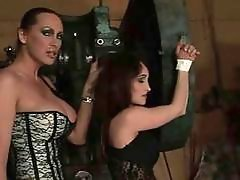 Hot mistress playing with her sexslave