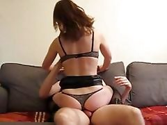 This amateur girl loves to fuck with her pants on